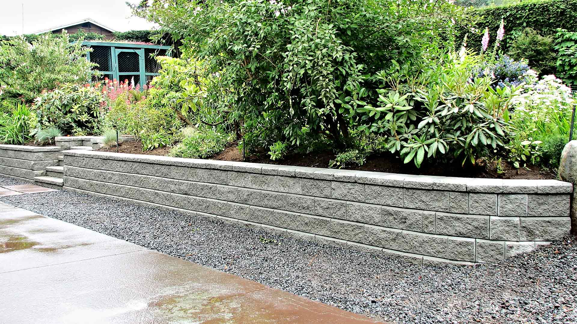Stone retaining wall constructed at a Orlando, FL residence.