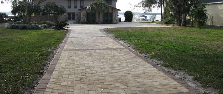 Custom paver walkway construction near Clermont, FL.